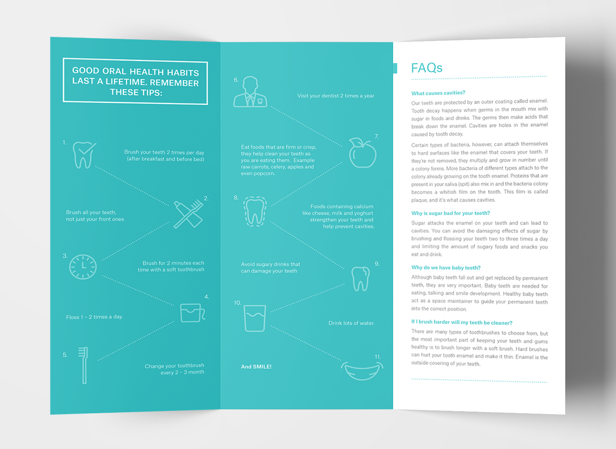 Oral Health Pamphlet Design, Editorial, Layout And Production  Pamphlet Layout